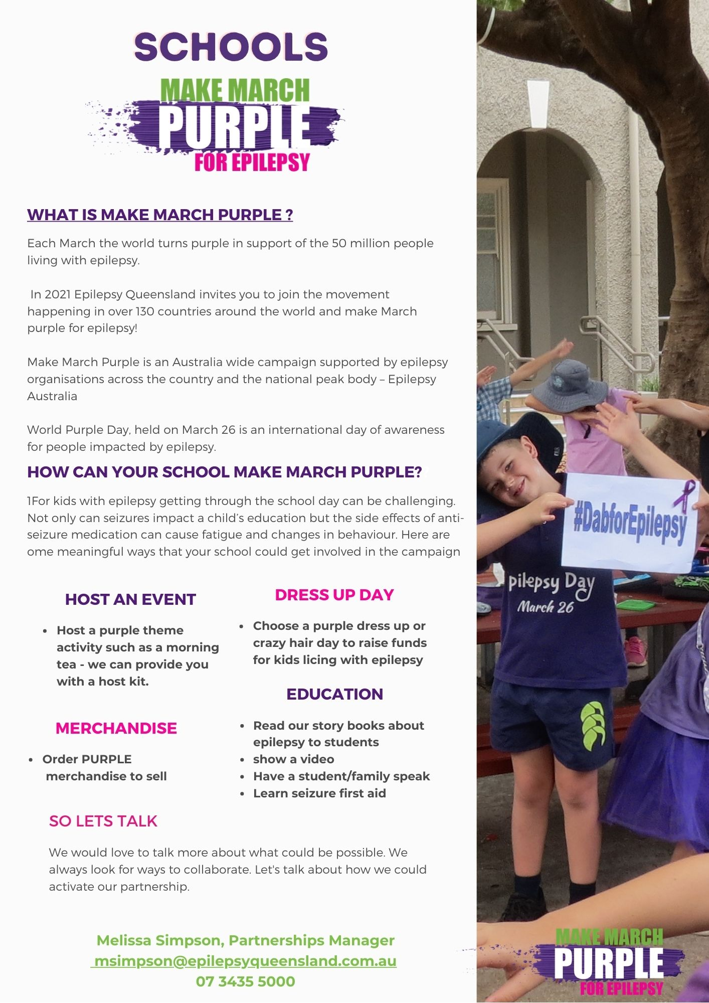 What is Make March Purple for schools